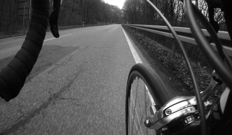 Rennrad Fahren Schwarz Weiss