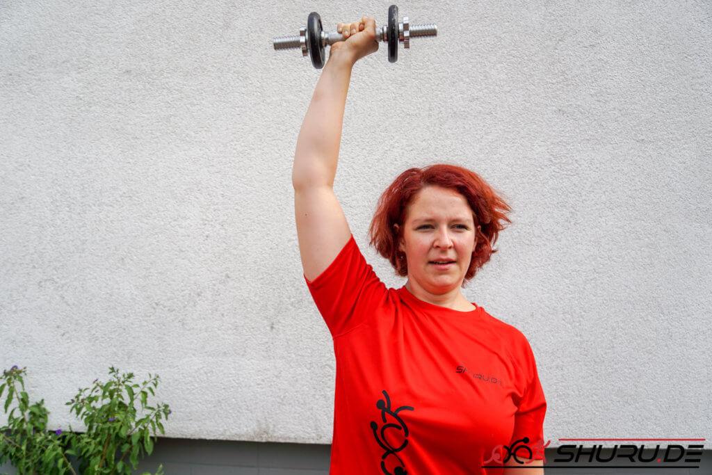Rennrad Sitzposition Übung - Schulterdrücken Hochpunkt