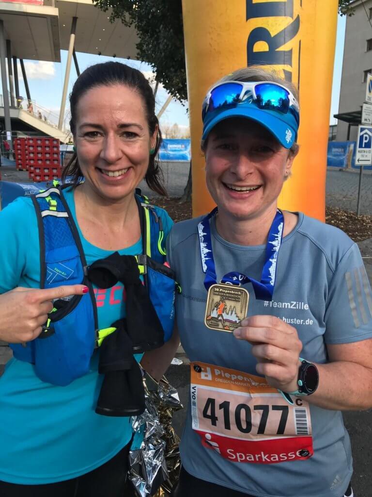 Nadja im Ziel des Dresden Marathon